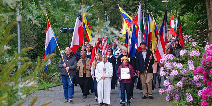 Prozession zum Urheiligtum am Bündnistag im Mai in Schönstatt/Vallendar (Foto: Schönstatt-Pilgerzentrale)
