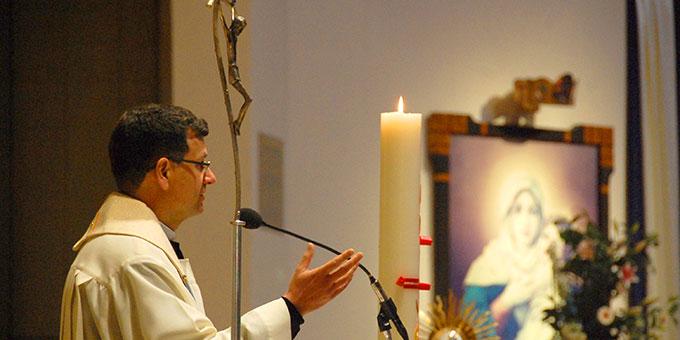 Predigt: Wallfahrtsleiter Pater Lothar Herter ISch (Foto: Brehm)