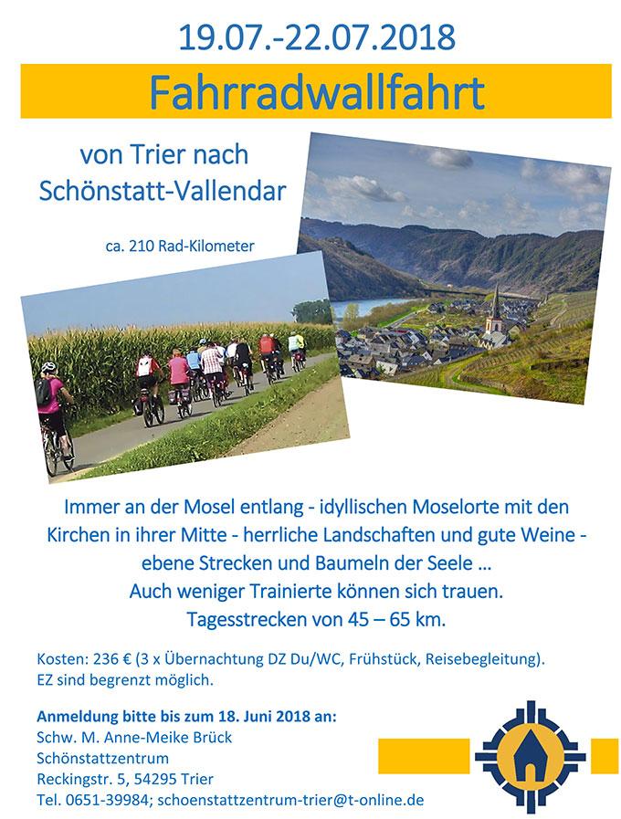 Fahrradwallfahrt von Trier nach Schönstatt/Vallendar - Plakat (Foto: SchönstattzentrumTrier)