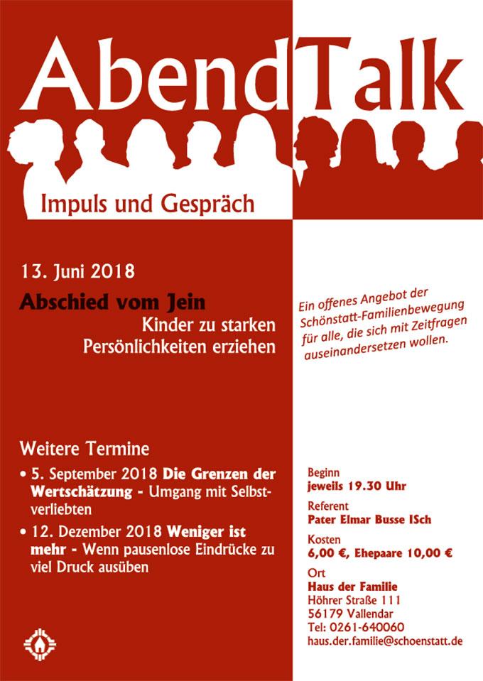 Plakat: Abendtalk im Juni 2018 (Grafik: Brehm)