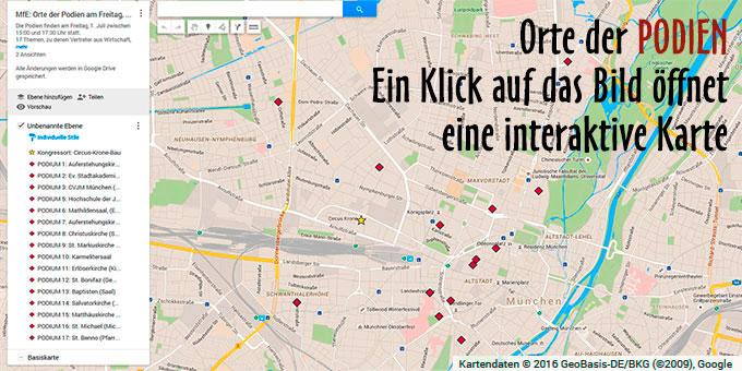 Die Orte der PODIEN beim Kongress Miteinander für Europa (Foto: google-Karte)