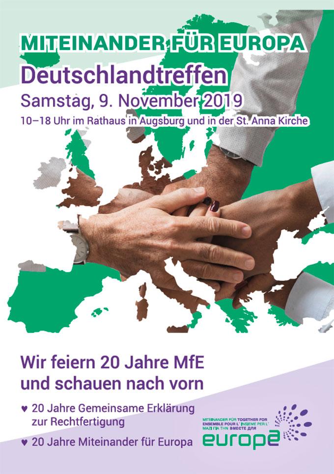 Cover: Einladungsflyer zum Deutschlandtag von Miteinander für Europa (Grafik: Brehm)