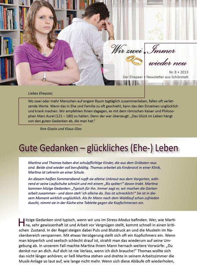 """Ehepaar-Newsletter 08/2013 """"Wir zwei - Immer wieder neu"""" S.1 (Fotos: © Dan Race - Fotolia.com)"""