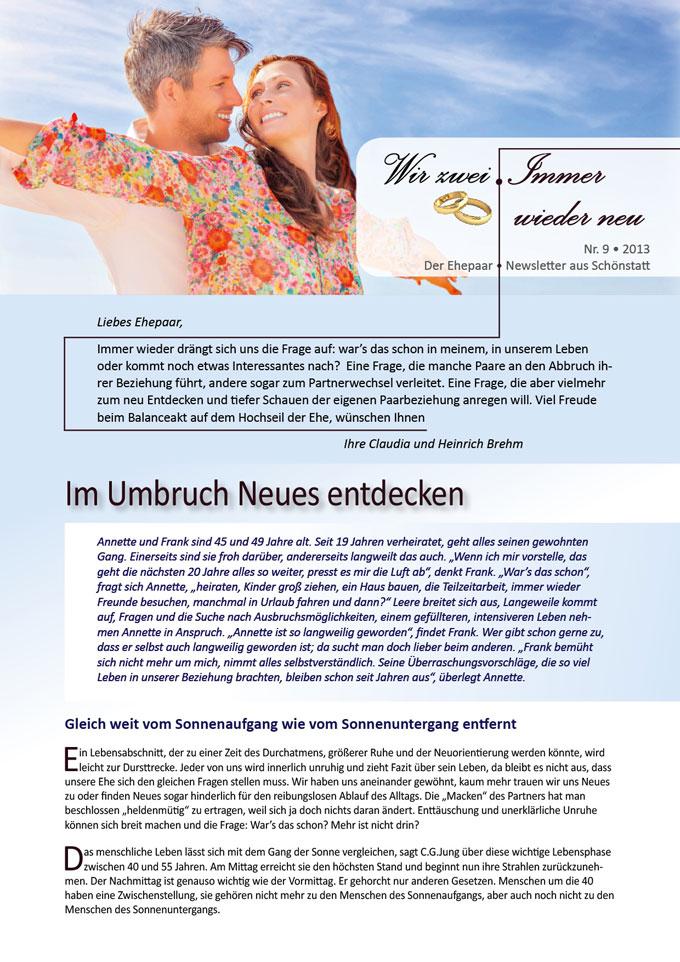 """Ehepaar-Newsletter 08/2013 """"Wir zwei - Immer wieder neu"""" S.1 (Fotos: © detailblick - Fotolia.com)"""