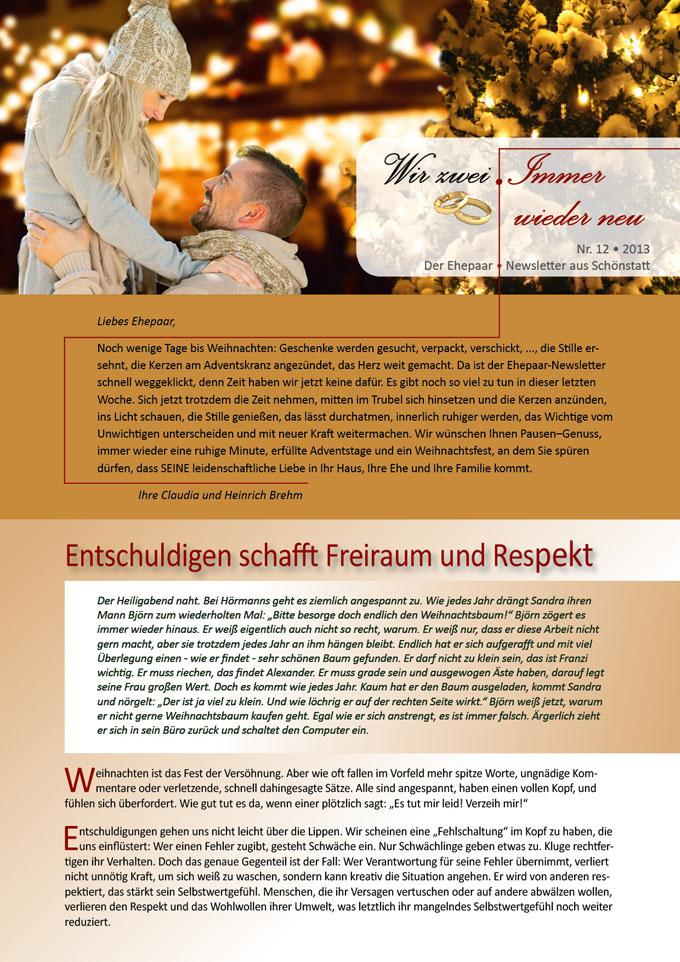 """Ehepaar-Newsletter 12/2013 """"Wir zwei - Immer wieder neu"""" S.1 (Fotos: © drubig-photo - Fotolia.com)"""