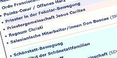 Die neue Internetplattform www.katholischebewegungen.de ist ein Portal zu 83 Geistlichen Gemeinschaften und Bewegungen
