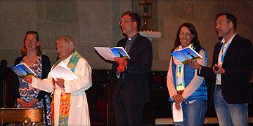 Marianne Maier (Lektorin), Domkapitular Alfred Rottler, Weihbischof Dr. Michael Gerber, Freiburg, Ehepaar Thalheimer (Foto: Brehm)