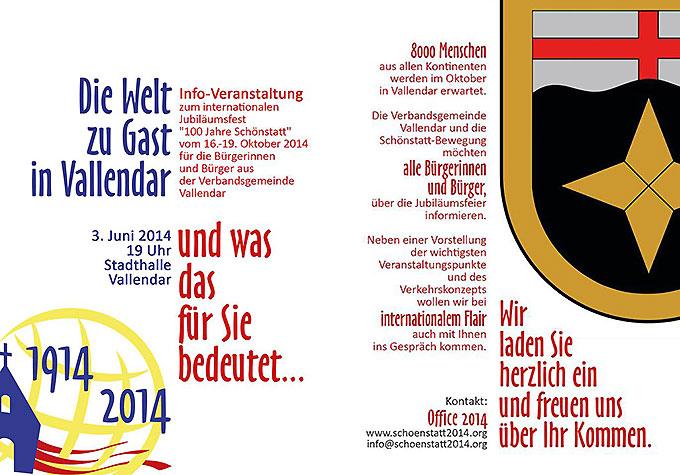 Einladungs-Flyer zur Infoveranstaltung am 3. Juni in der Stadthalle Vallendar (Foto: schoenstatt2014.org)