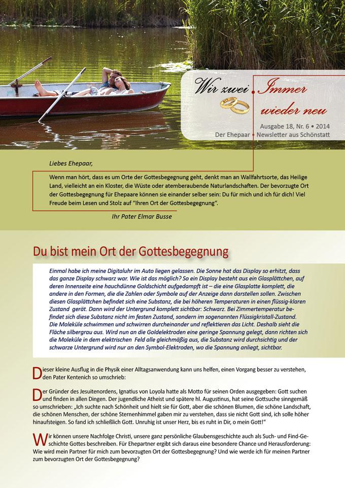"Ehepaar-Newsletter 06/2014 ""Wir zwei - Immer wieder neu"" S.1 (Fotos: © tunedin - Fotolia.com)"