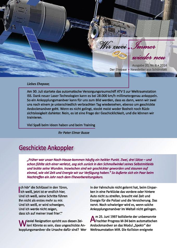 """Ehepaar-Newsletter 08/2014 """"Wir zwei - Immer wieder neu"""" S.1 (Foto: © ESA-Illustration)"""
