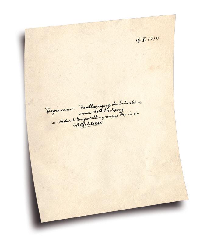 Deckblatt der Gründungsurkunde, handschriftlich verfasst von Pater Josef Kentenich