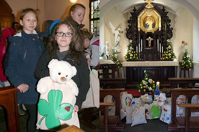 """""""Hallo-Beutel"""" für Flüchtlingskinder werden in die Gnadenkapelle gebracht und demnächst den Empfängern übergeben (Foto: Stienemeier)"""