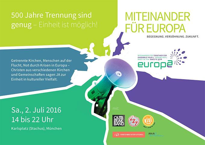 Kundgebung von Miteinander für Europa in München am 2. Juli 2016 (Foto: MfE)