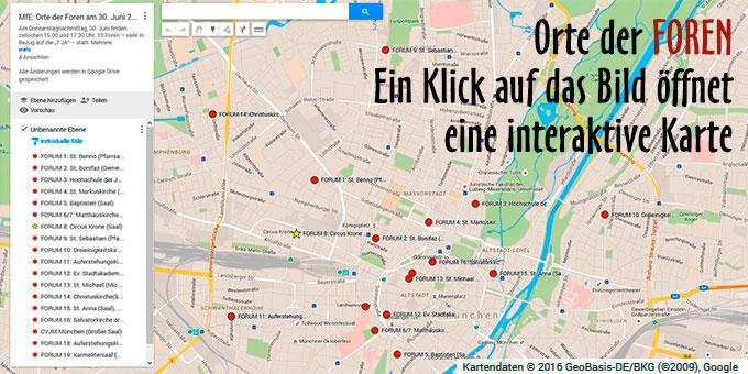 Die Orte der Foren beim Kongress Miteinander für Europa (Foto: google-Karte)