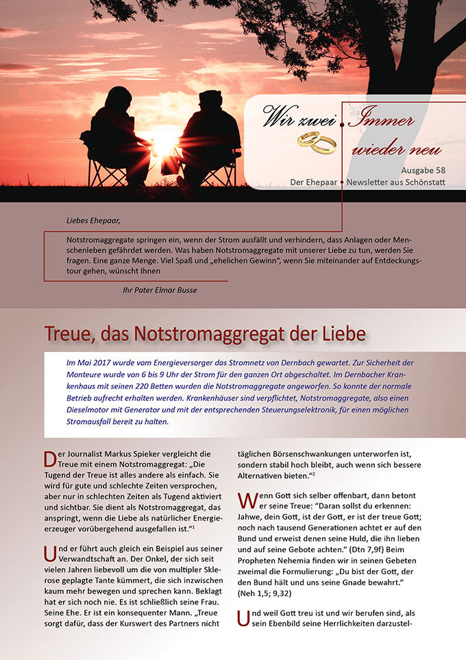 """Ehepaar-Newsletter 10/2017 """"Wir zwei - Immer wieder neu"""" (Foto: pixabay.com)"""