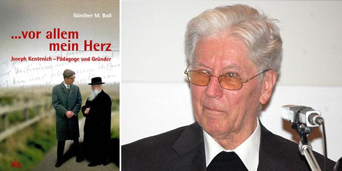 """Pater Günther M. Boll (1931 – 2014) neben der neuen Ausgabe seines Buches """"... vor allem aber mein Herz"""" (Foto: Patris Verlag / Brehm)"""