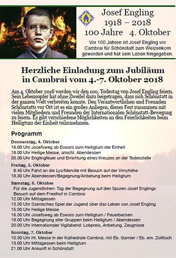 100. Todestag von Josef Engling -Plakat (Foto: Engling-Sekretariat)