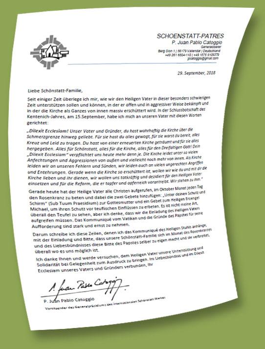 Brief von Pater Catoggio an die Schönstatt-Familie