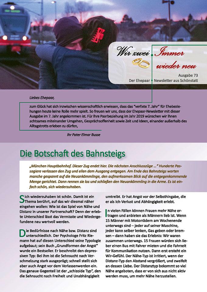 """Ehepaar-Newsletter 01/2019 """"Wir zwei - Immer wieder neu"""" (Foto: brenkee, pixabay.com)"""