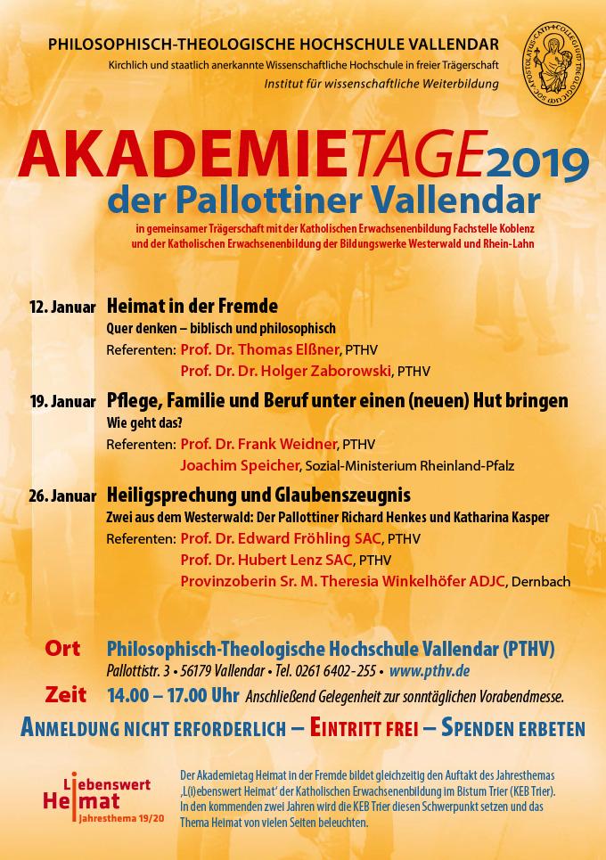Akademietage der Pallottiner - Plakat 2019 (Foto: PTHV)