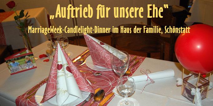 Candlelight-Dinner im Rahmen der MarriageWeek im Haus der Familie, Schönstatt, Vallendar (Foto: Brehm)