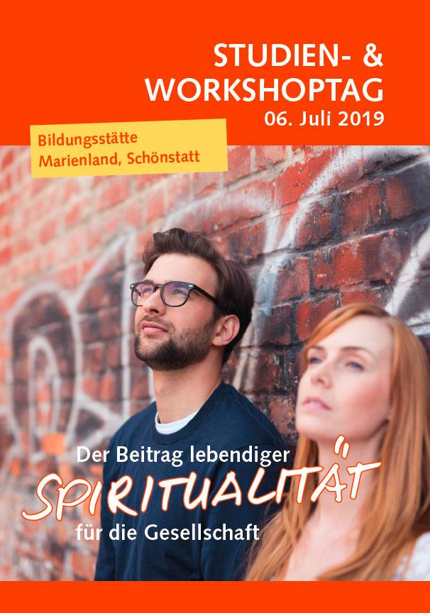 """Studientag """"Der Beitrag lebendiger Spiritualität für die Gesellschaft"""" (Flyer-Cover)"""