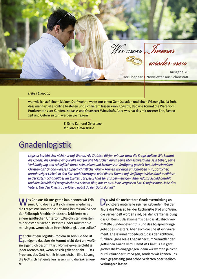 "Ehepaar-Newsletter 04/2019 ""Wir zwei - Immer wieder neu"" (Foto: Maura Barbulescu, pixabay.com)"