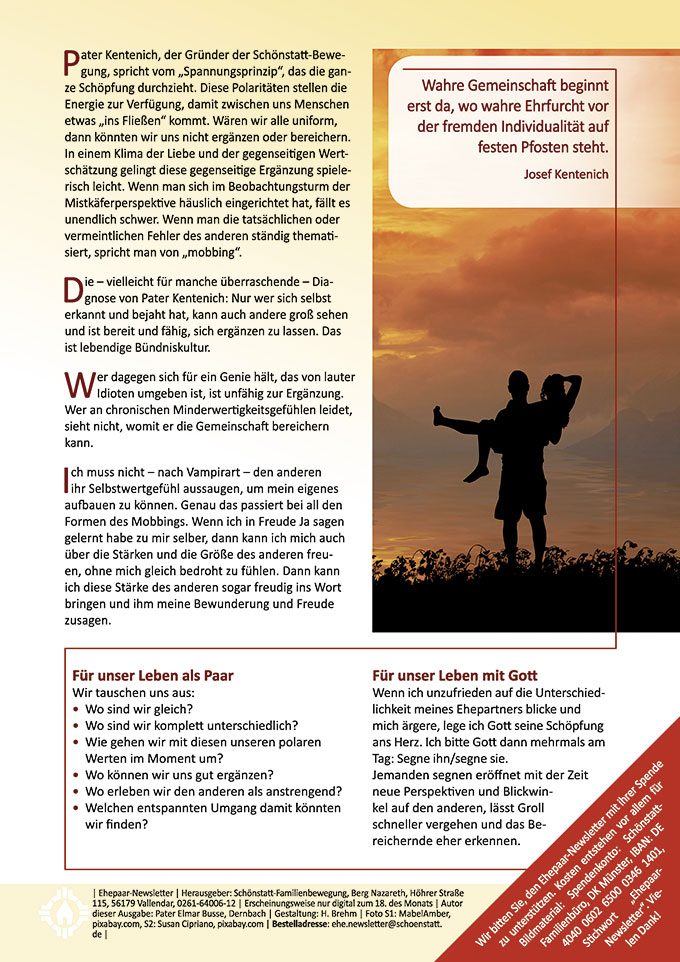 """Ehepaar-Newsletter 07/2019 """"Wir zwei - Immer wieder neu"""" (Foto: Susan Cipriano, pixabay.com)"""