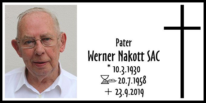Todesanzeige Pater Werner Nakott SAC (Foto: Pallottiner Limburg)