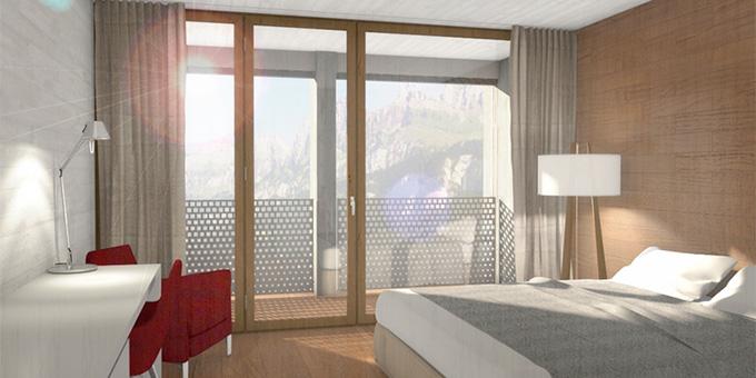Visualisierung: Einzelzimmer nach Umbau und Sanierung (Foto: Schönstatt-Zentrum Quarten)