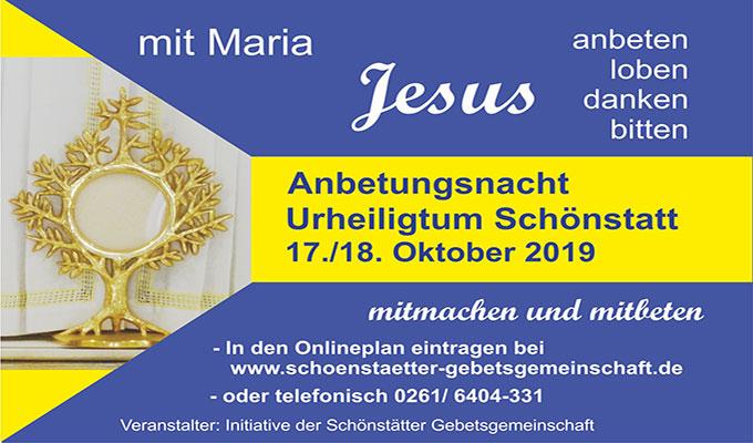 Flyer Anbetungsnacht am Urheiligtum (Foto: Schönstätter Gebetsgemeinschaft)
