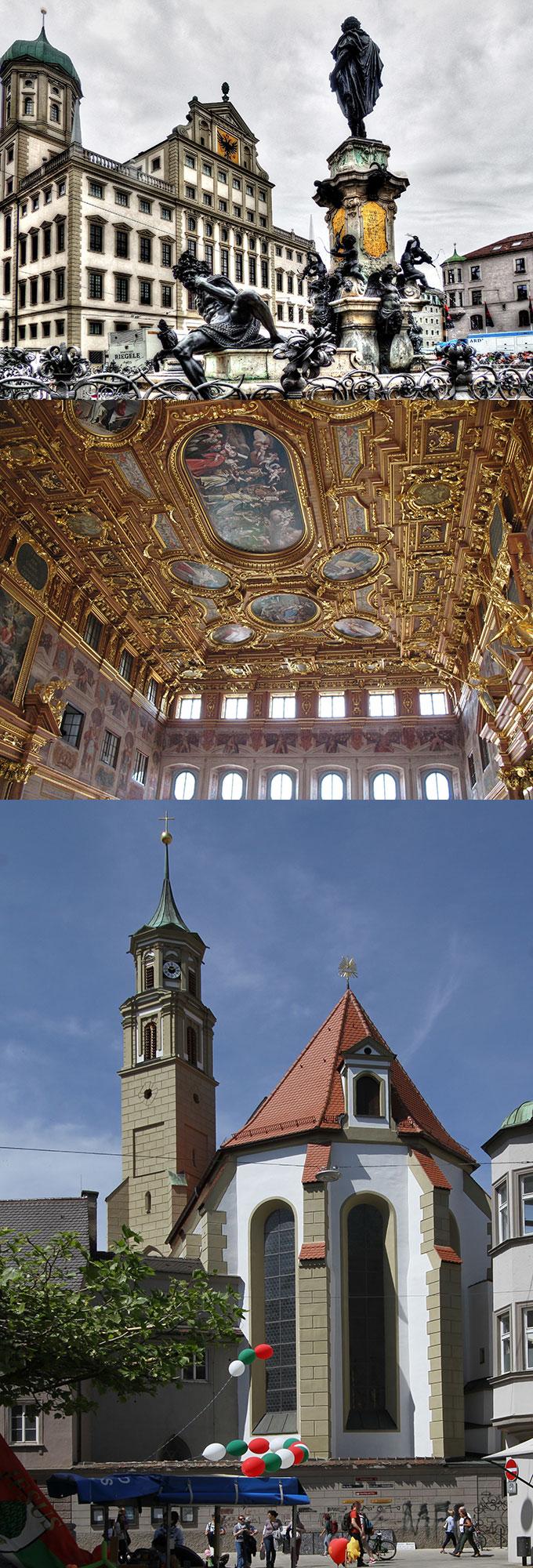 Augsburg: Rathaus, Goldener Saal, St. Anna Kirche (Foto: oben: Theo Rivierenlaan, pixabay.com, mitte: NickyPS, pixabay.com, unten: Gerd Eichmann, wikimedia)