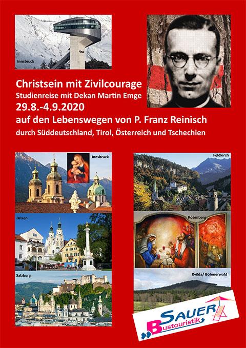 Cover des Reiseprospektes der Reinisch Studienreise (Gestaltung: Sauer Bustouristik)