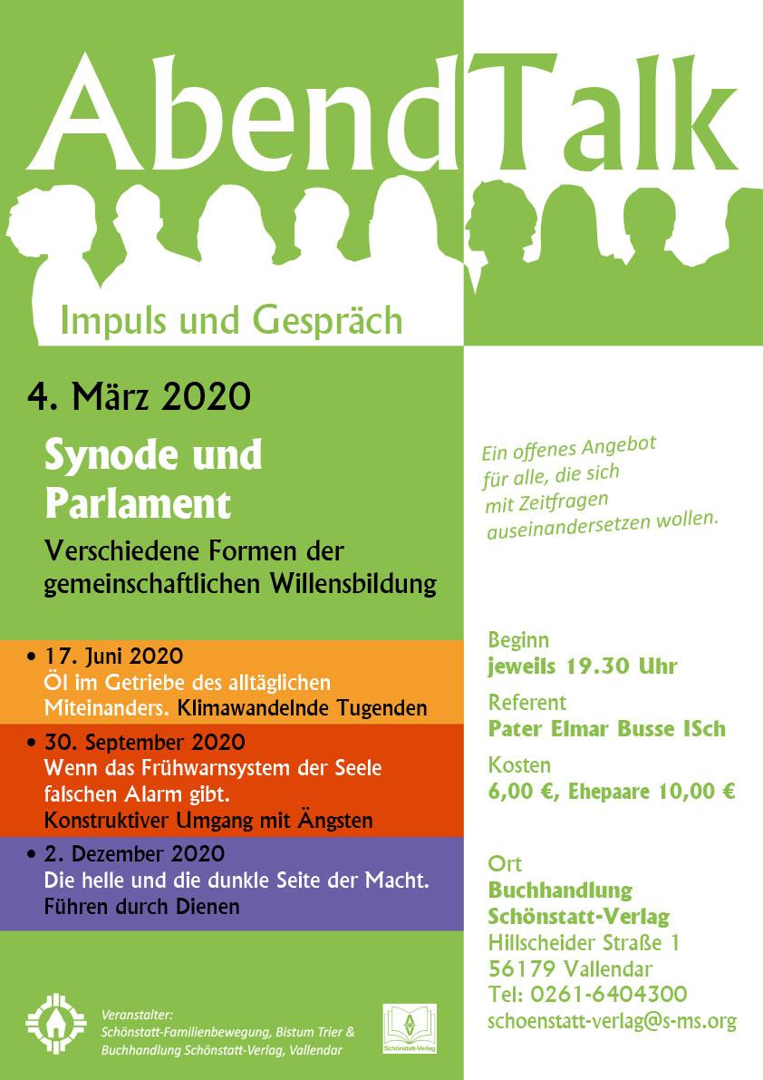 Abendtalk im März 2020 - Plakat (Grafik: Brehm)