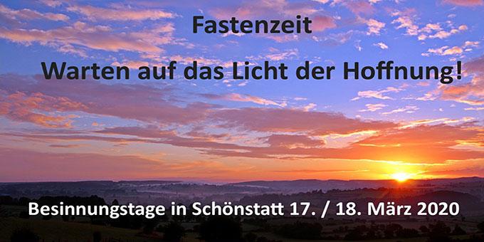 Fastenzeit - Besinnungstage in Schönstatt