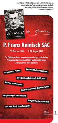 Tafel 1 der Ausstellung zu Pater Franz Reinisch SAC (Grafik: Zepp)