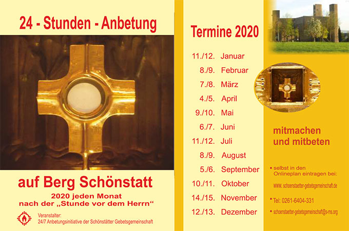 Anbetungsinitiative in Schönstatt (Flyer: Team24/7)