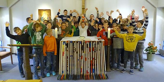 Eine muntere Truppe beim Treffen für Jungens im Schönstatt-Zentrum in Haus Mariengrund in Münster (Foto: Andreas Mergler)