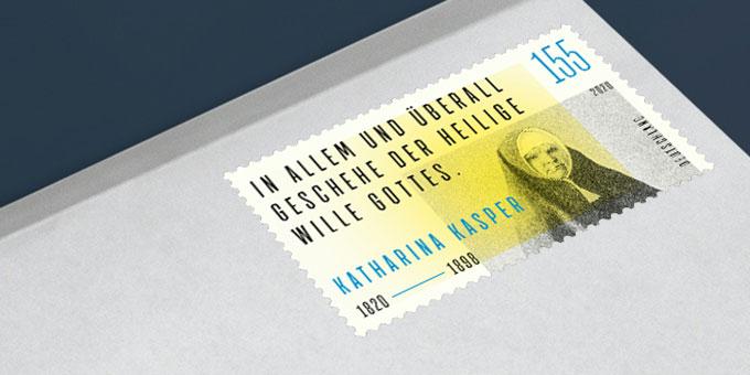 Neue Sondermarke der Deutschen Post zu Katharina Kasper (Foto: Deutsche Post; Montage: Brehm)