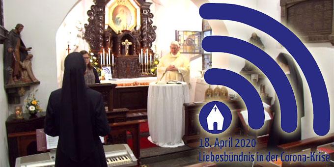 """Das """"Liebesbündnis in der Corona-Krise"""" wird im Urheiligtum in Schönstatt, Vallendar, geschlossen (Foto: schoenstatt-tv.de)"""