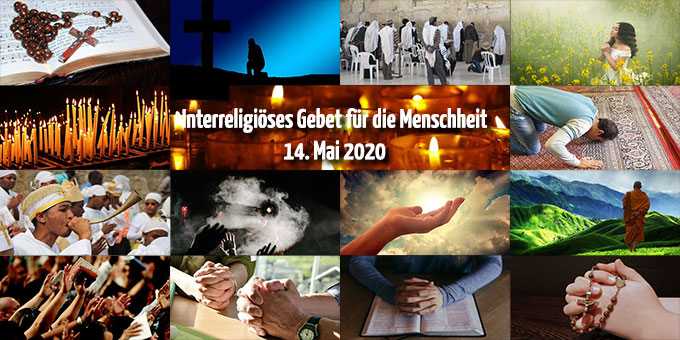 Interreligiöser Gebetstag für die Menschheit am 14. Mai 2020 (Grafik: Brehm, Fotos: pixabay.com)