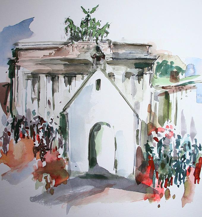 Brandenburger Tor und Schönstatt-Heiligtum (Grafik: Maria Kiess, Freising)