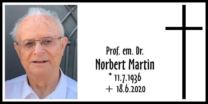 Todesanzeige Prof. em. Dr. Norbert Martin (Foto: privat)