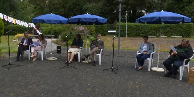 Nur ganz wenige Paare waren auf dem Josef-Kentenich-Hof in Hillscheid zur Feier des Jubiläums vor Ort (Foto: schoenstatt-tv.de)