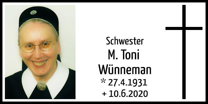 Todesanzeige: Schwester M. Toni Wünnemann (Foto: s-ms.org)