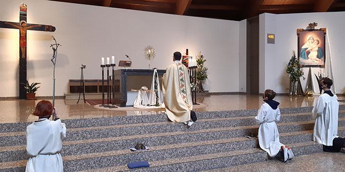 Fronleichnam 2020: Gottesdienst in der Pilgerkirche Schönstatt (Foto: Mirjam Metzler)