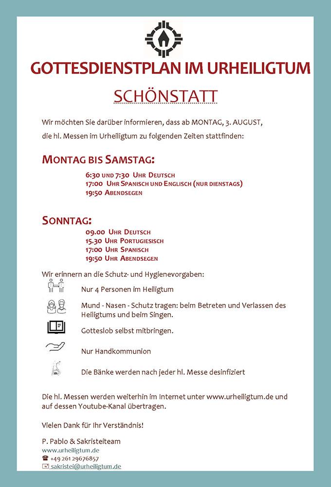 Der Gottesdienstplan für das Urheiligtum in Schönstatt. Gültig ab 1. August 2020 (Foto: Sakristei Urheiligtum)