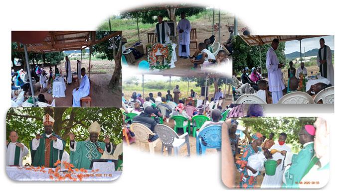"""Fotos von den Gottesdiensten im August 2020 am Wallfahrtsort """"Maria - Königin der Apostel"""" in Marza, Diözese Ngaoundere, Kamerun (Foto: privat)"""