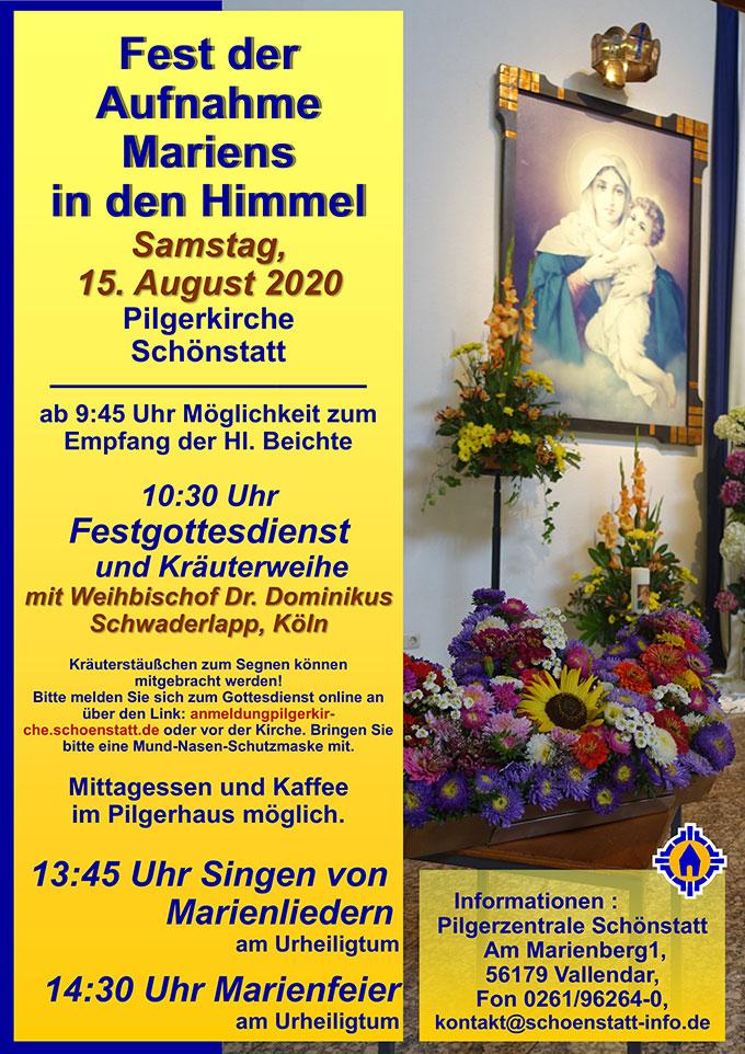 Plakat zum Fest der Aufnahme Mariens in den Himmel (Foto: Pilgerzentrale Schönstatt)