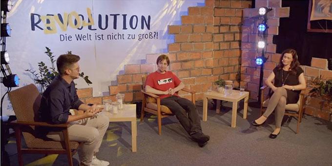 Motto-Talk: Moderator Alexander Bersch, Philipp Wittershagen und Verena Groß (Foto: Benjamin Brehm)